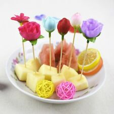 20 Pcs Disposable Bamboo Cocktail Picks Food Fruit Fork Rose Toothpick Tableware