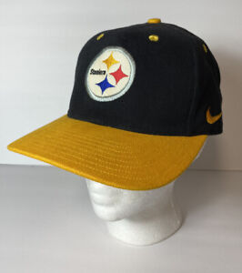 New Vintage Nike Pittsburgh Steelers NFL Pro Line Black SnapBack Hat White Tag