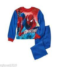 Marvel Spiderman XS 4-5  PJ's Flannel Sleepwear Boys New 2 Piece Pajamas Set