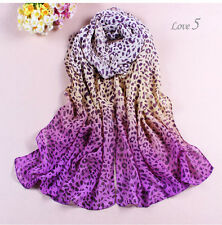Women's Fashion Long Soft Shiffon Silk Wrap Lady Shawl Leopard Chiffon Scarf