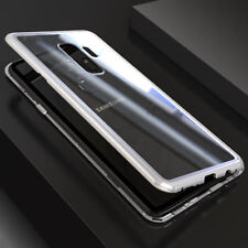 For Samsung Galaxy S8 S9 Plus Magnetic Adsorption Tempered Glass Back Case Cover
