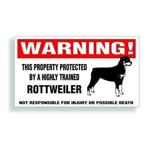 Warning DECAL trained ROTTWEILER guard dog  bumper or window sticker