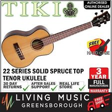 NEW Tiki Solid Spruce Top Tenor Ukulele w Hard Case (Natural Gloss)