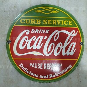 CURB SERVICE 12 INCHES ROUND VINTAGE ENAMEL SIGN