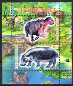 TCHAD CHAD 2011 HIPPOPOTAMES WILD ANIMALS FAUNA ZEBRA ELEPHANT ALEGAT STAMPS MNH