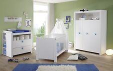 Babyzimmer Komplett Set Weiß Blau Kinderzimmer 5 Tlg GS Siegel Baby Möbel  Olivia
