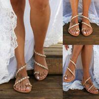 Womens Boho Bohemian Flat Sandals Toe Ring Pearl Floral Summer Beach Shoes Size