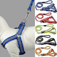 Humane Adjustable Reflective Nylon Dog Puppy Walking Leash Rope Collar Harness