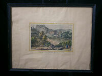 VINTAGE HAND COLORED ENGRAVING LITHOGRAPH ART PRINT L'EDITRICE  ROME ITALY