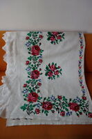 Vintage Homespun Hemp Linen Cross Stitch Embroidered Bedcover Throw Lace