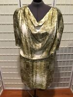 Women's NEW size 3X M.S.S.P. Woman Green and Cream Print Pullover Dress
