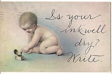 Is Your Ink Well Dry?  Write. BABY Comic Drawing Postcard Inkwell Vintage  1915