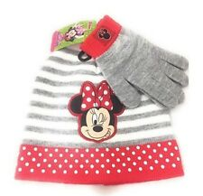 Disney Mickey Minnie Mouse Knitted Beanie Winter Gift Hat Gloves Sets Grey Nwt