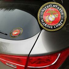 Premium Heavy Duty Round 3M Custom Flat Window Sticker - USMC Marines EGA Red