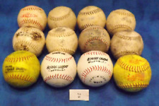 lot of 12 softballs 12 inch mixed brand plus 1 indoor rubber coated ball set 14