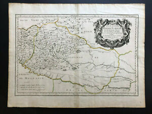 052 Antique Original 1665 map of Ukraine, Podolia , Poland Guillaume Sanson