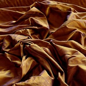 "Iridescent Bronze Sapphire Dupioni 100% Silk Fabric 44"" Wide By The Yard (S-186)"
