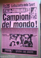 RIPRODUZIONE SU CARTA LUCIDA=GAZZETTA DELLO SPORT=CAMPIONI DEL MONDO ! 1982=