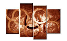 LARGE BROWN ABSTRACT CIRCLES  CANVAS PICTURES PAINTING SPLIT MULTI rdy 2 hang