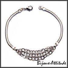 Bracelet femme ENORA plaqué rhodium maille serpent et trois chaînettes L21 cm