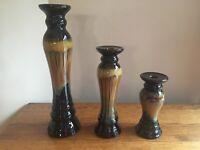 SET OF 3 Art Pottery Salt Glaze Dark Brown/Tan Graduated Candlesticks; EUC!