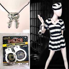 4 PC Lady PRISONER COSTUME Escaped Inmate CONVICT Jail STRIPED Dress HAT Cuffs