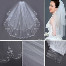 2 T Embroidery Pearls Beaded Edge Bridal Wedding Elbow Veil W/ Comb White US