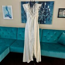 Vintage Lily of France Lace Quilted Nightgown Negligee V Neck Ivory Size M