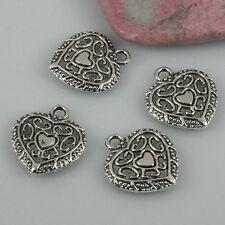 12pcs tibetan silver tone heart charms EF0453