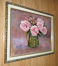 LARGE VINTAGE PARIS APT SIGNED ART PAINTING PINK FLOWERS IN CHIC FRENCH PITCHER