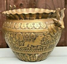 More details for indo persian indian brass plant pot plater