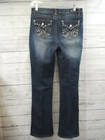 Earl Jean Straight Leg Blue Jeans Sz 6 Rhinestone Flap Pocket Embroidered Studs