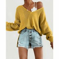 T-shirt Women's Blouse Knitted sweater Solid Casual Loose Long Sleeve Tops