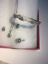 Natural Peridot Earrings/ Pendant Necklace Set  925 Sterling Silver