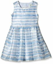 Yumi Organza Stripe Heart Cut Out Dress 11-12 Years BNWT RRP £38.95 Sky Blue