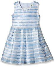 Yumi Organza Stripe Heart Cut Out Dress 11-12 Years BNWT RRP £38.95 Sky Blue