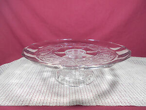"""Anchor Hocking Glass Avalon Clear Pattern Cake Stand 12"""" x 3 3/8"""""""