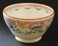 Pink rim blue flower design vintage Victorian antique sugar bowl