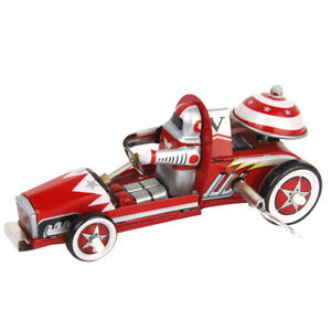 Vintage WIND UP Racer Racing Car Model TIN Toy Clockwork Collectible Gift