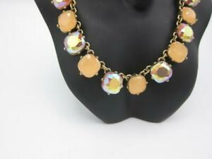 """J Crew necklace pale pink & crystal stones 18 """" gold tone chain New in box w/tag"""