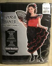 """Spanish Dancer� Costume - New, Girl's Medium 8-10, Dress & Matching Hair Clip!"