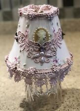 Vintage Victorian Beaded Cameo Lace Pearls Pink Embroidered Table Clip Lampshade