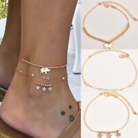 New Gold Star Elephant Anklet Ankle Bracelet Chain Barefoot Sandal Beach Jewelry