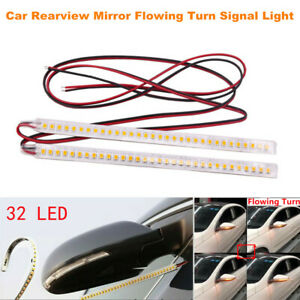 2PCS Car Rear view Mirror 32 SMD LED Strip Light Flowing Turn Signal Lamps Amber