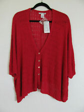 Alberto Makali 3/4 Batwing V-Neck Cardigan Sweater-Red-Viscose-Size XL-NWT $99