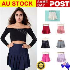 Women's Retro High Waist Pleated Slim Skirt Short Mini Skirts Tennis Skirt Dress