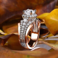 Luxury 925 Silver & Rose Gold Jewelry Wedding Set Rings White Sapphire Size 7