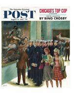 VINTAGE 1961 POST MAGAZINE COVER SAILORS ART MUSEUM PRETTY GIRLS TOUR AD PRINT