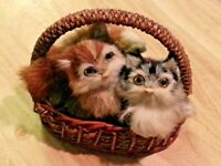 Two adorable small Kittens in a basket vintage decorative animal Cat figurines