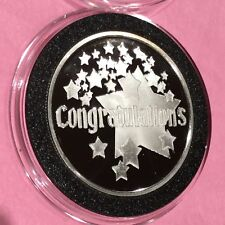 Congratulations Gift Present Proof Coin 1 Troy Oz .999 Fine Silver Round Medal